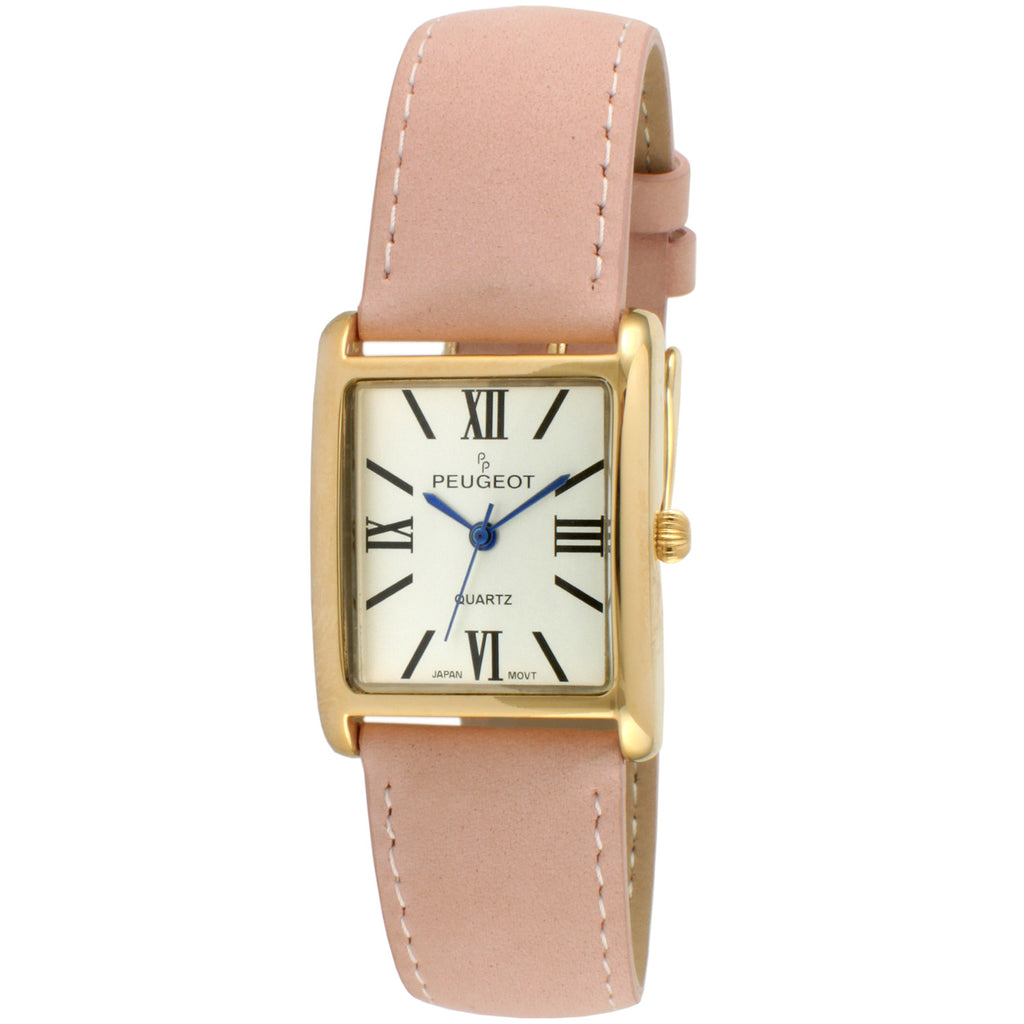 The Roma Women's Suede Watch by Peugeot- Gold/Pink - Peugeot Watches