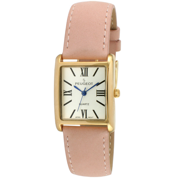Square Gold Suede Leather Watch - Pink