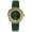 women roudn watch green face with 350 floating cz in bezel and diamond markerson dial