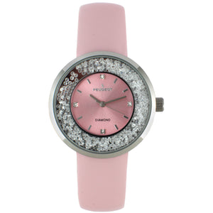 Women 38mm Floating CZ  Diamond Dial