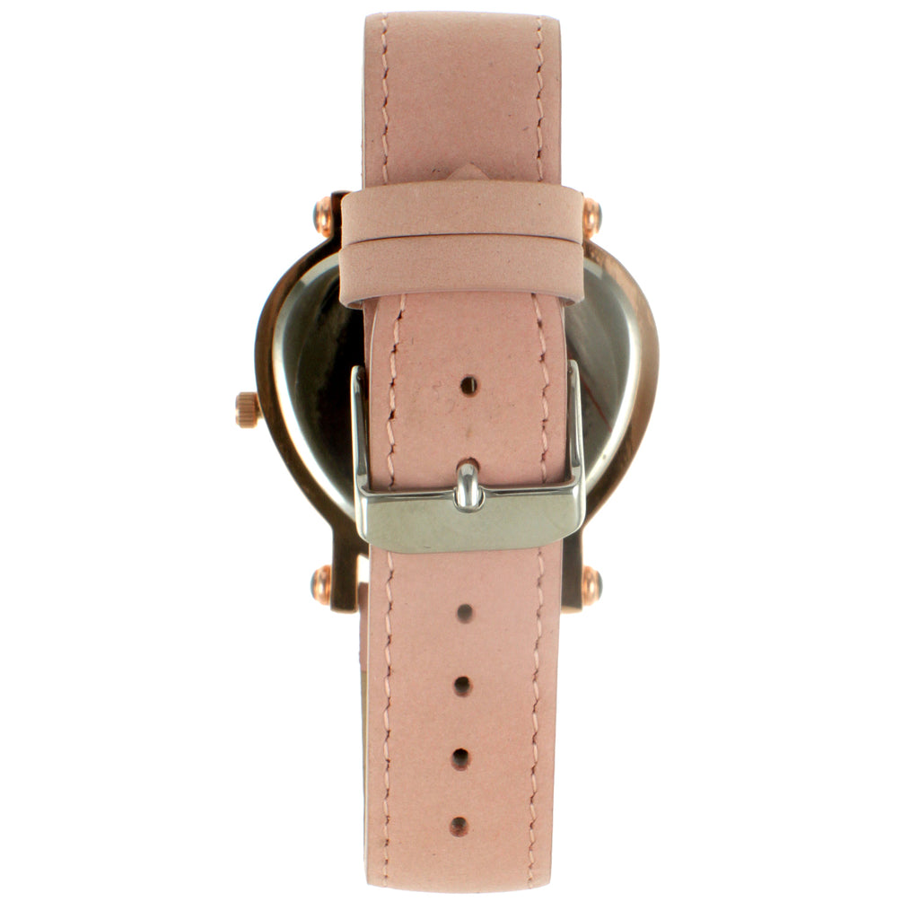 Heart Shapped Crystal Bezel T-bar Strap Watch - Pink - Peugeot Watches
