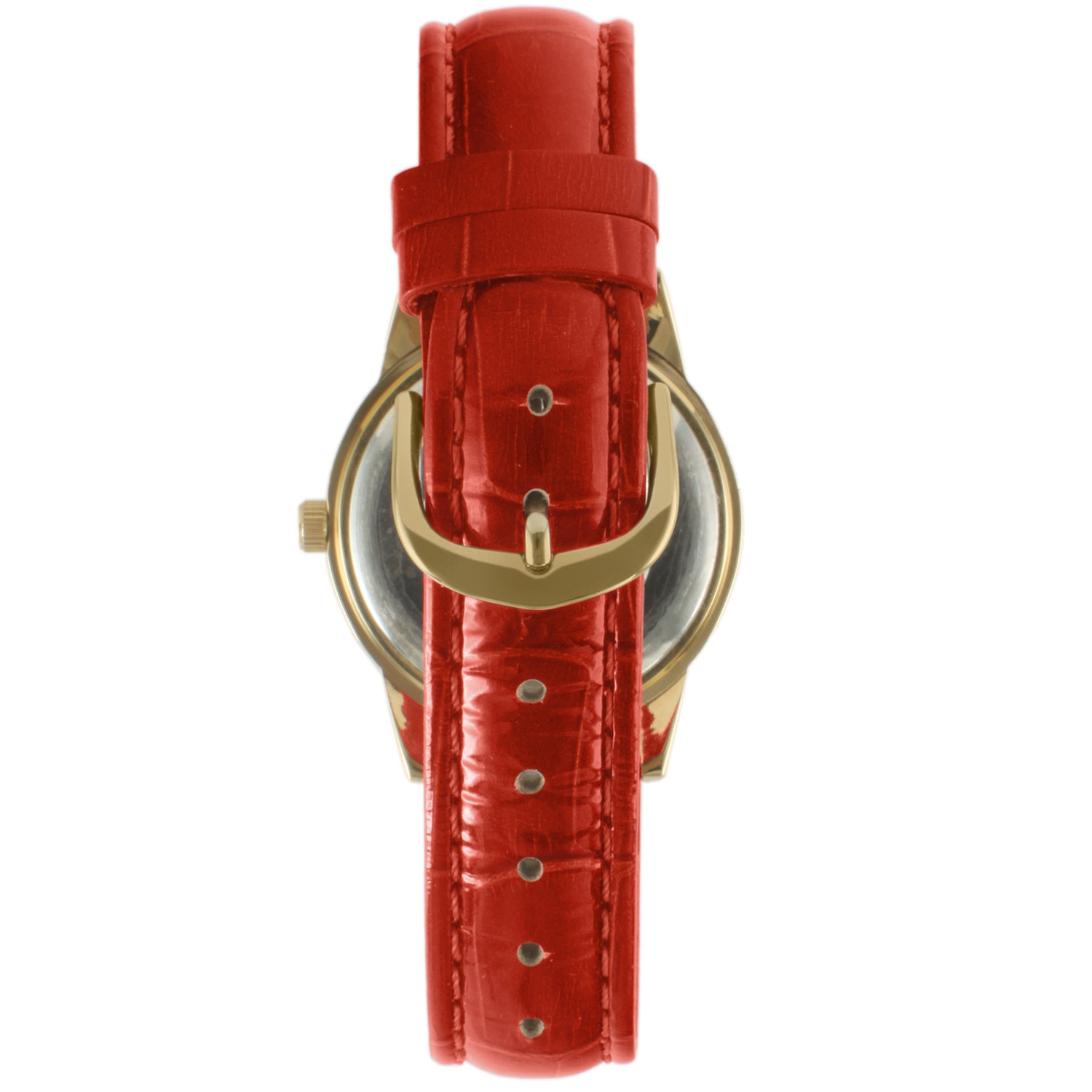 Round Crystal Bezel Watch - Gold/Red