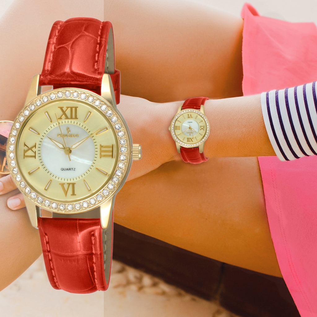 Women 34mm Crystal Bezel Leather Strap