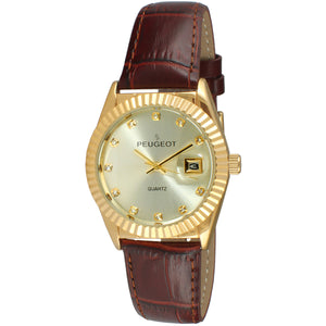 Coin Edge Bezel Crystal Maker Watch - Gold/ Brown - Peugeot Watches