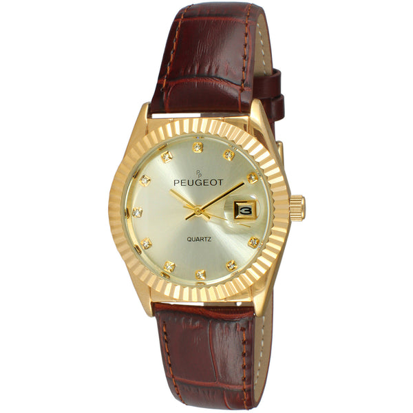 Coin Edge Bezel Crystal Maker Watch - Gold/ Brown