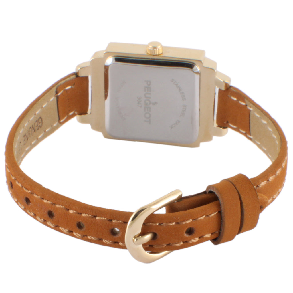 Petite Square Suede Leather Watch -Gold - Peugeot Watches