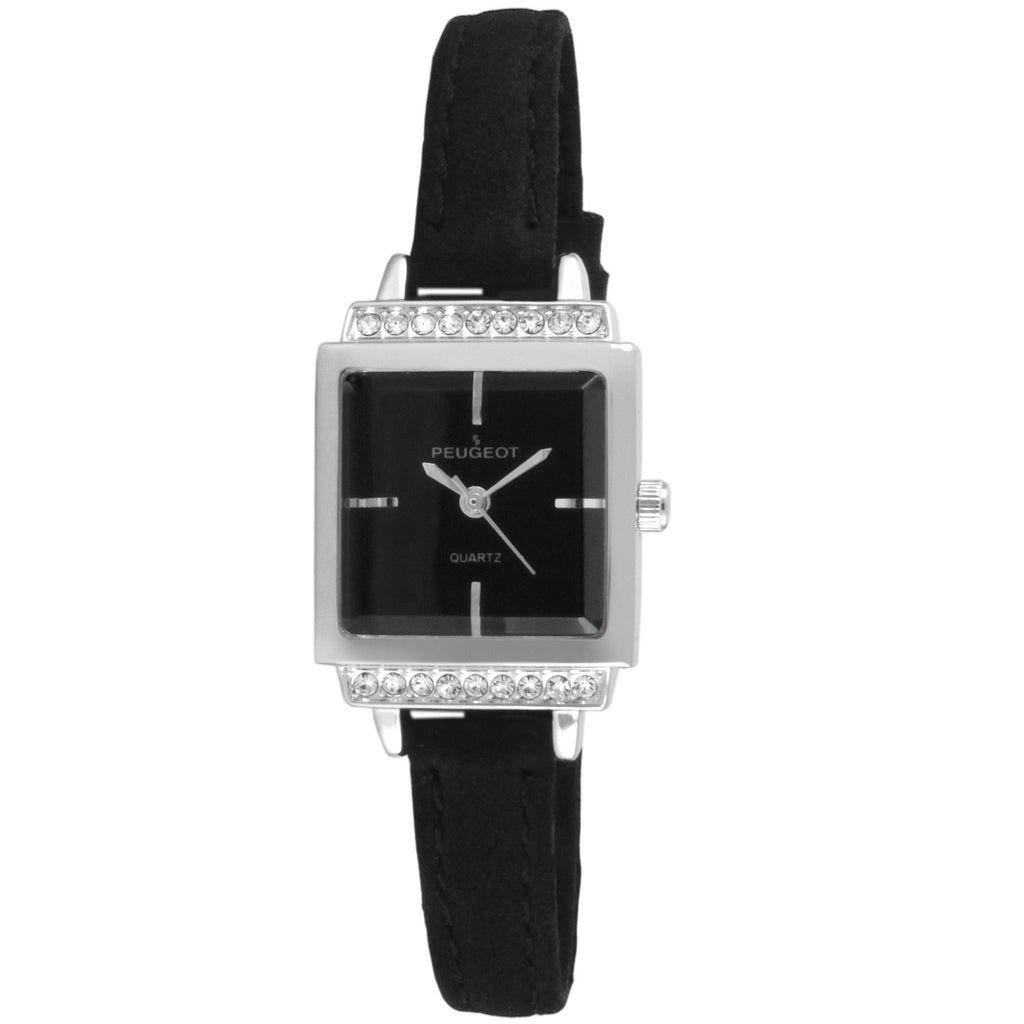 Petite Square Suede Leather Watch - Black - Peugeot Watches
