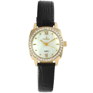 Women 28mm Crystals Bezel Leather Strap