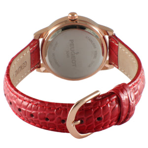 Classic Round Crystal Bezel Watch - Red - Peugeot Watches