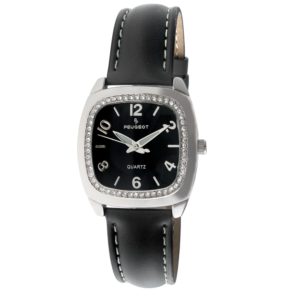 Women 32mm Crystal Bezel Leather Strap