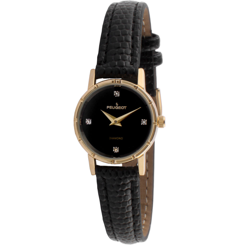 Petite Round Genuine Diamond Marker Watch - Black - Peugeot Watches