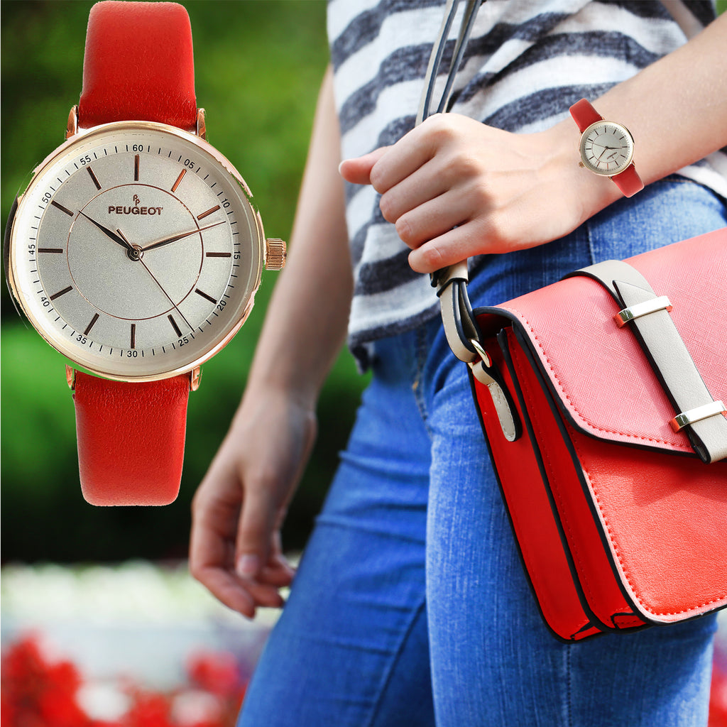Women's Modern Super Slim Sleek 14K Rose Gold Plated Dress Watch with Red Leather Strap