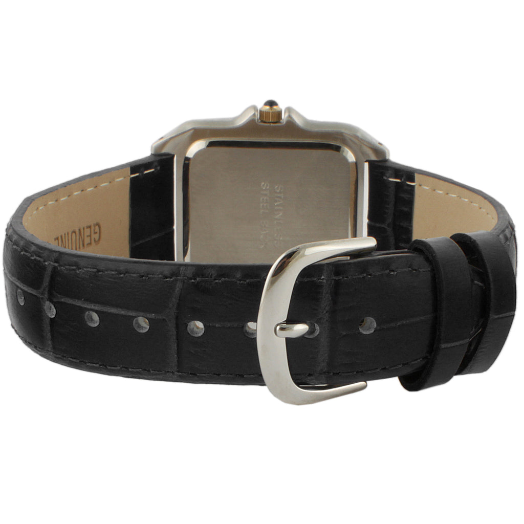 Peugeot Square Two Tone Tank Shape Leather Strap Watch - Peugeot Watches