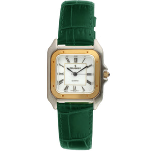 Women 36mm Square Tank Shape Leather Strap Watch