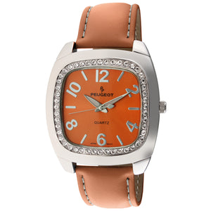Women 42mm  Crystal Bezel Leather Strap