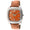 woman's square face watch, with crystal bezel, and orange leather strap