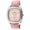 woman's square face watch, with crystal bezel, and pink leather strap