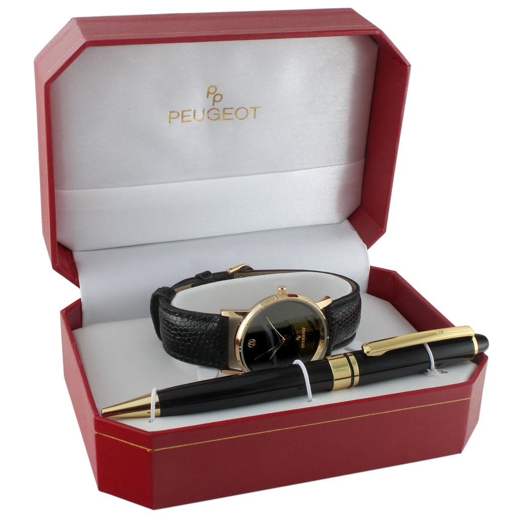 Men Black Leather Dress Watch & Pen Gits Set