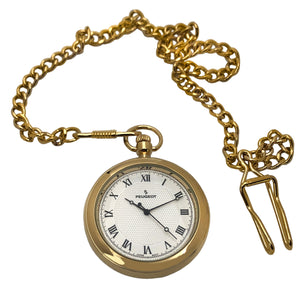 Peugeot Men's 14Kt Gold Plated Vintage Pocket Watch with Chain,