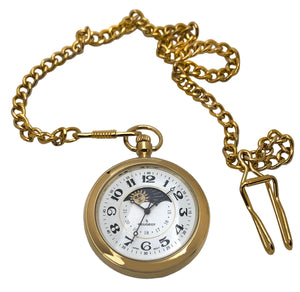 men 14kt gold plated moon phase pocket watch