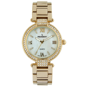 Women 36mm  Crystal Bezel Steel Bracelet