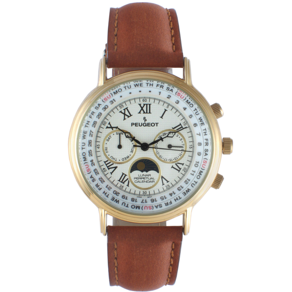 Peugeot Vintage Multi-Function Watch ,Perpetual Calendar with Moon Phase, Brown Leather Band - Peugeot Watches