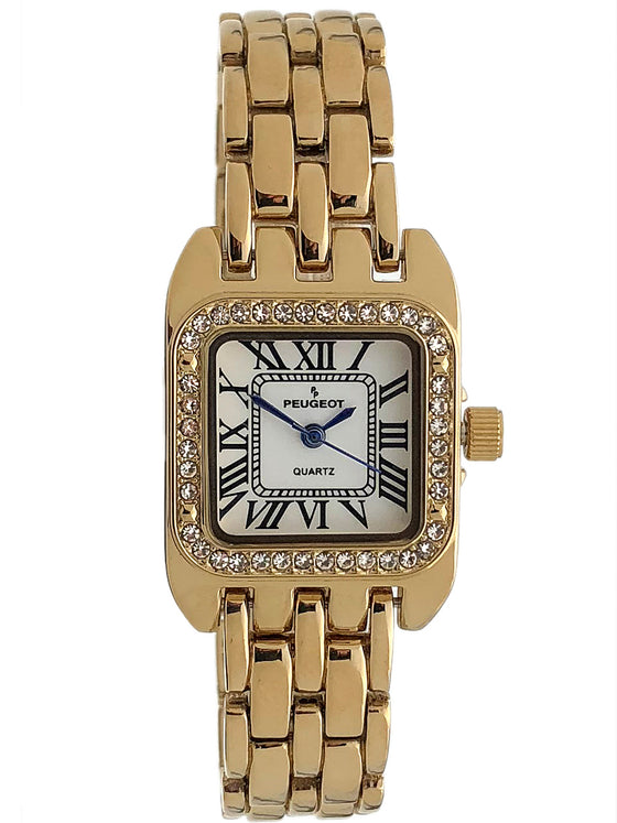 Women's Tank Shape Dress Watch w/ Panther Link Bracelet, Crystal Bezel & Roman Numeral Dial in Gold