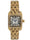 women square tank watch gold bracelet with white dial and black roman numerals