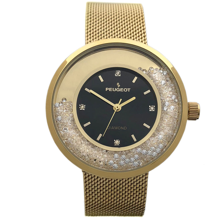 Women 32mm Floating CZ Diamond Dial Mesh