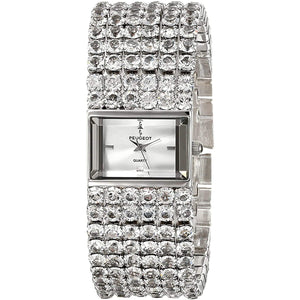 Women's Jeweled Evening Watch - 6 Strands of Genuine Swarovski Crystals