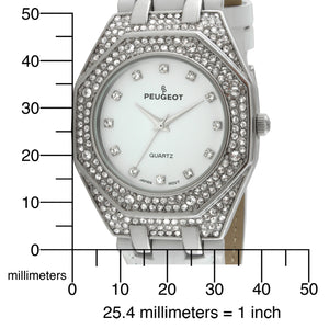 Women 37mm Crystal Bezel Leather Band