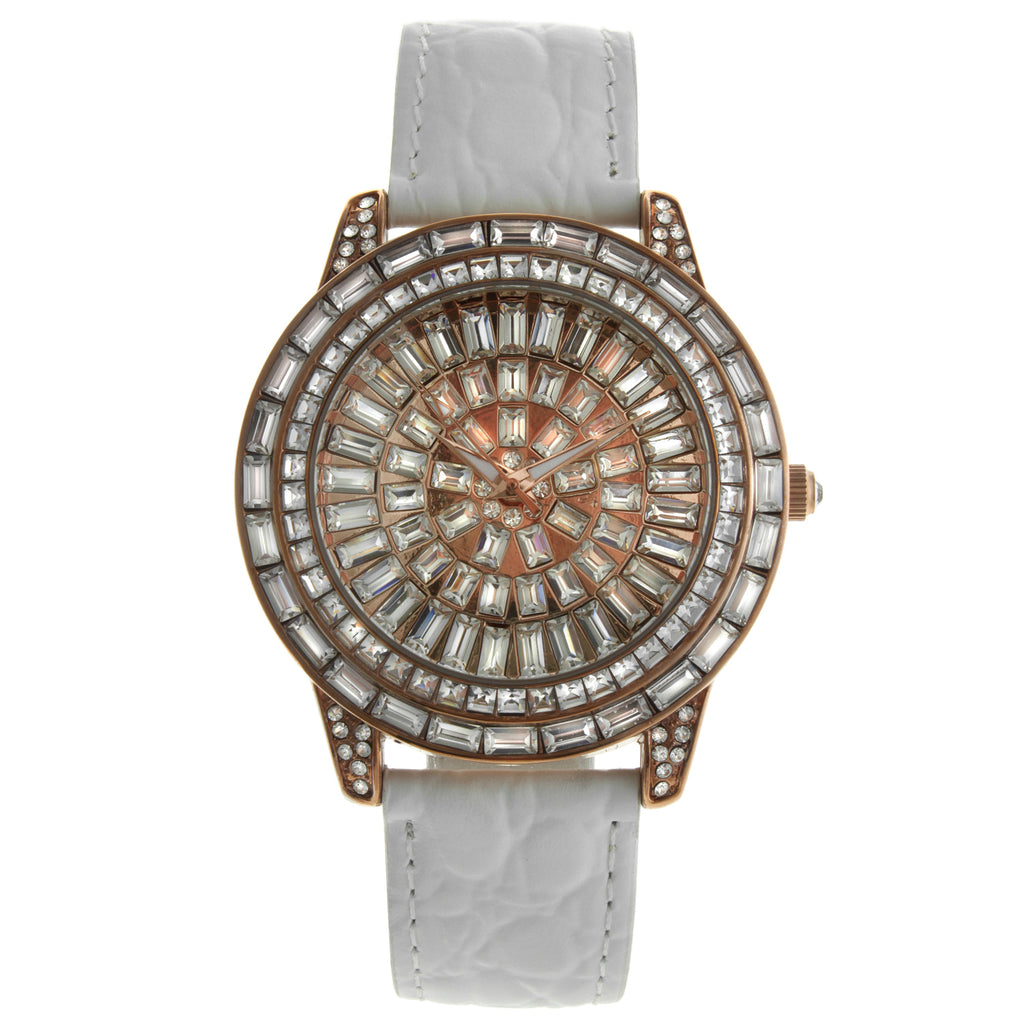 Women's Crystal Couture Leather Bands Elegant Evening Watch