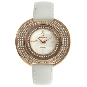 Women Crystal-Accented Wrist Watch with Curved Case and White Leather Band