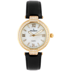 Women 36mm Crystal Bezel Leather Strap