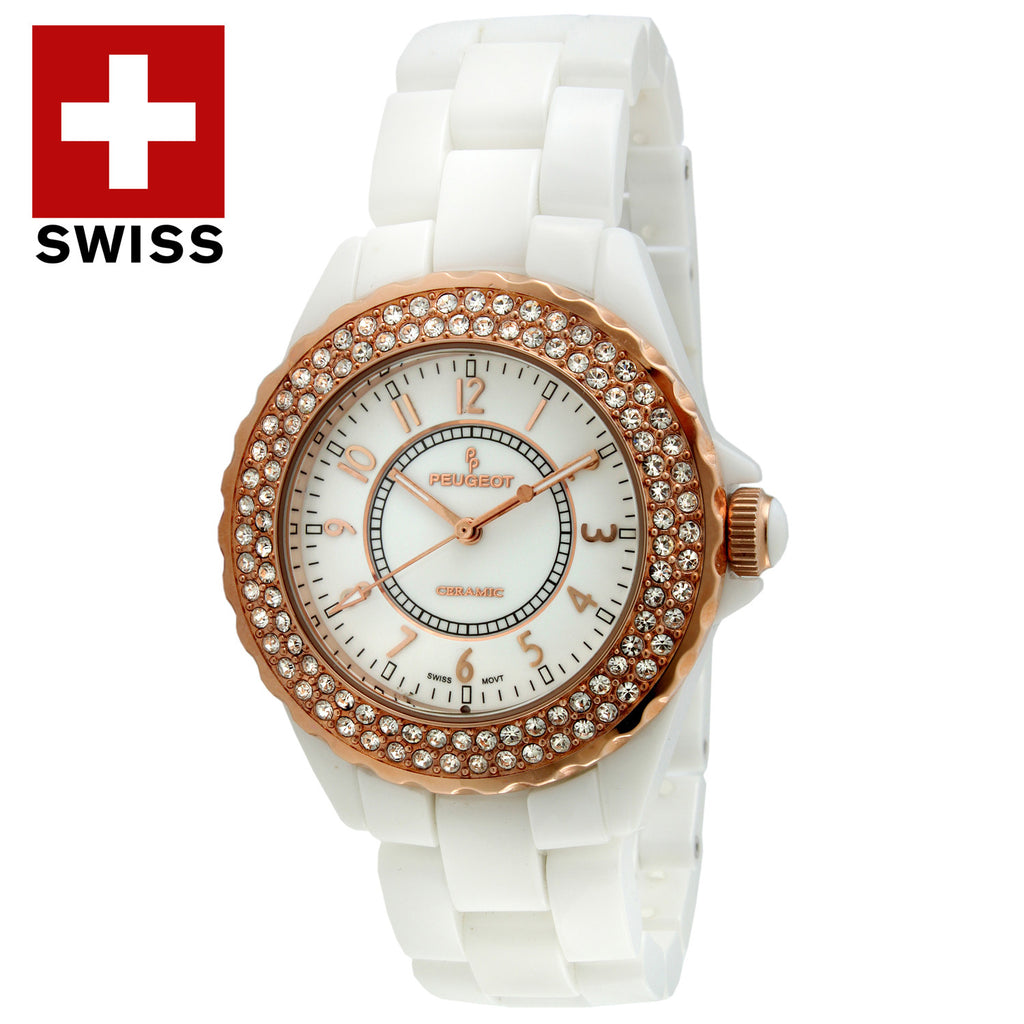 Women's White Swiss Ceramic Watch - Peugeot Watches