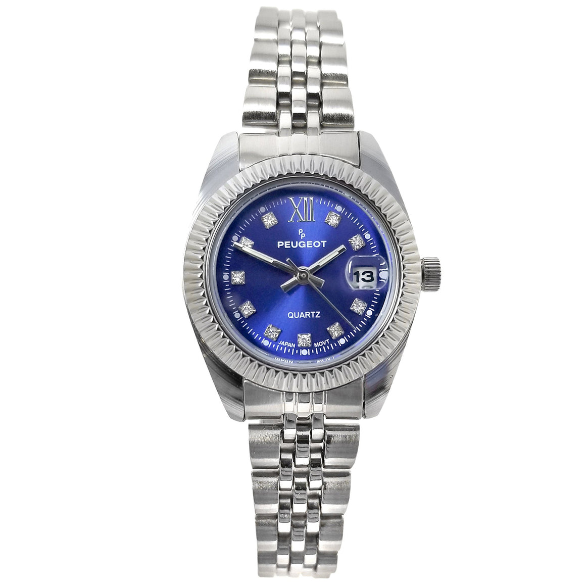 Women 36mm Fluted Bezel  Steel Bracelet