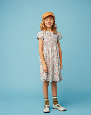 Liberty print smocked girls dress