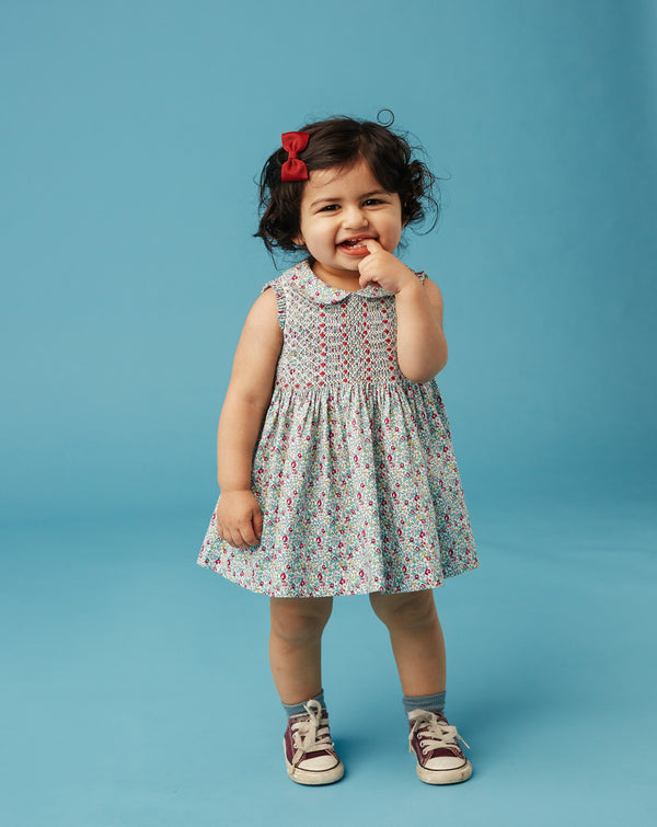 baby girls wearing  smocked dress
