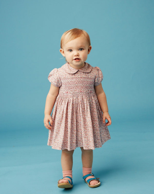 baby girl wearing  smocked dress