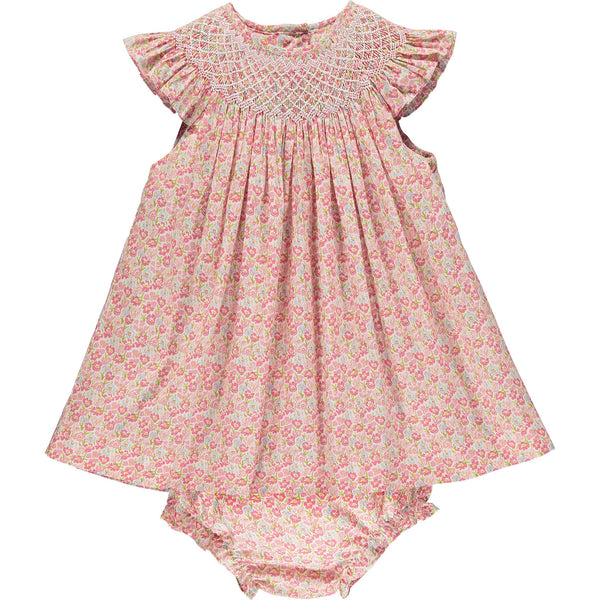 Baby frill neck dress floral front