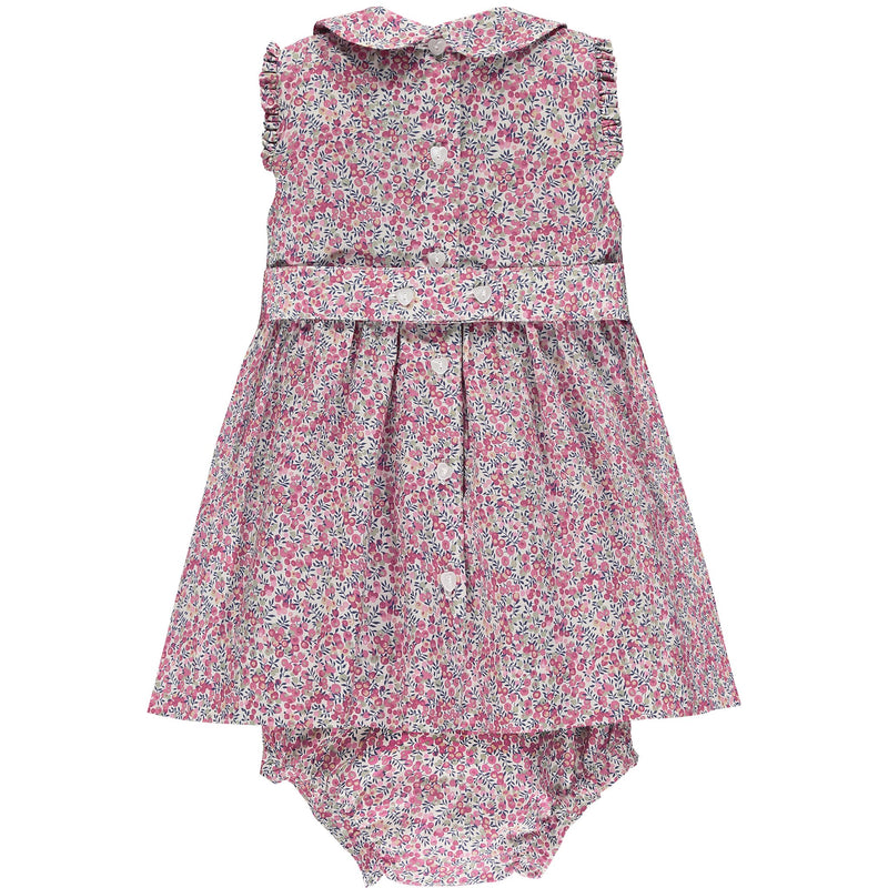 Liberty print baby dress back