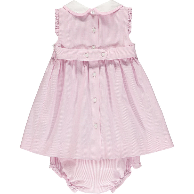 pink hand smocked baby dress back