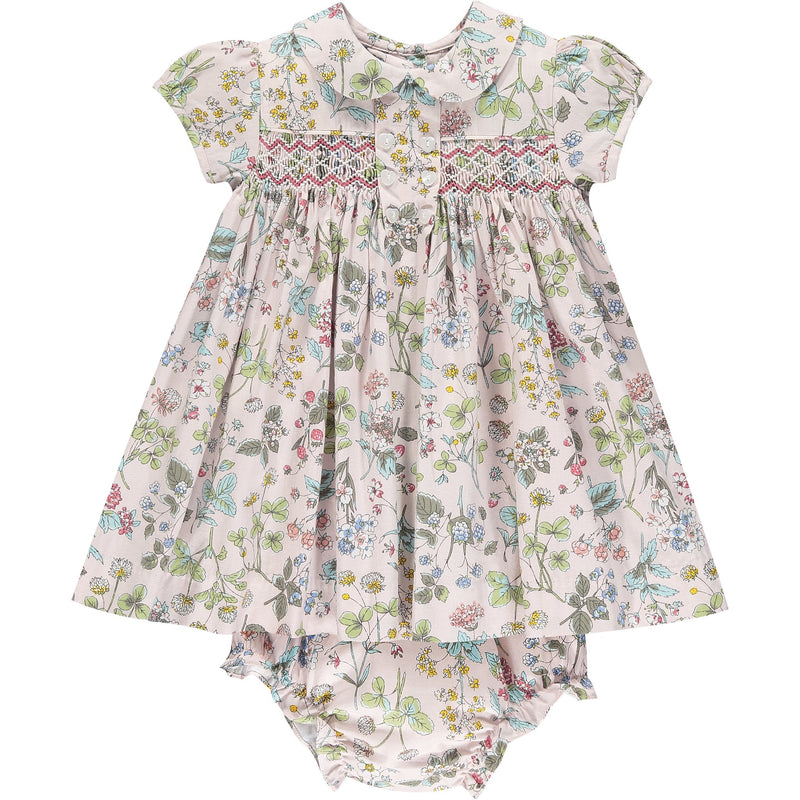 baby smocked dress front