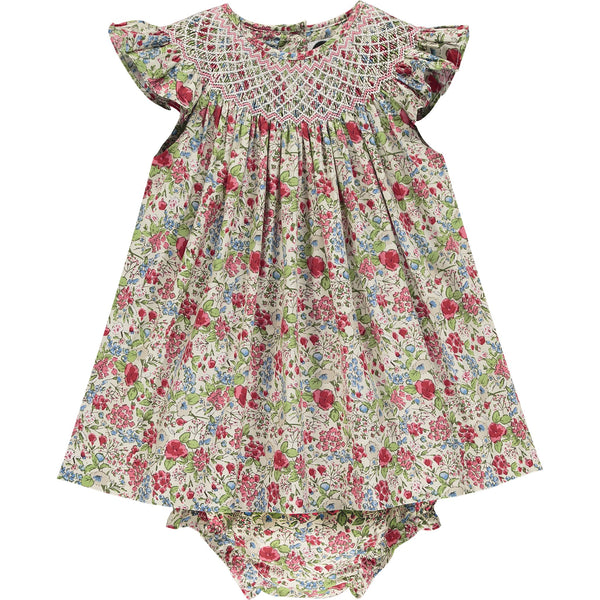 frill sleeve smocked dress front