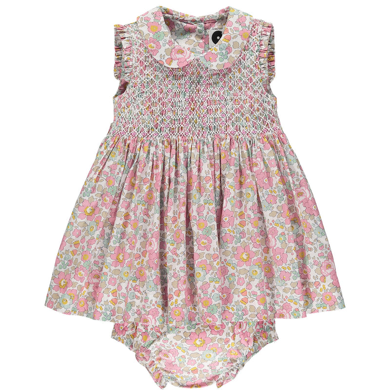 Liberty smocked baby dress front