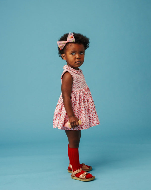 toddler  girl in classic hand-smocked dress