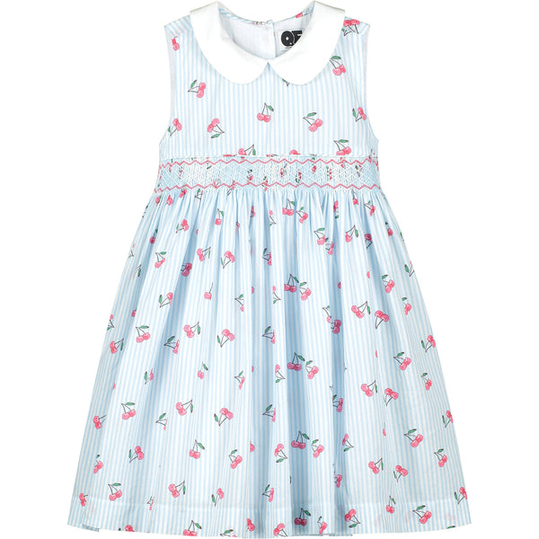 hand smocked cherry print dress front