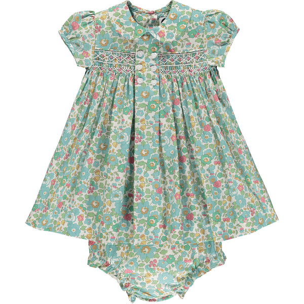 Liberty print smocked baby dress front