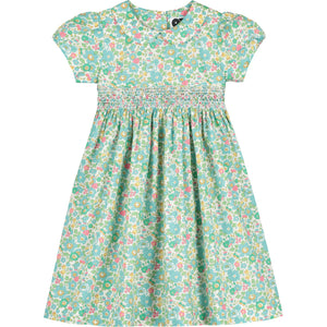 hand smocked Liberty print girls dress front