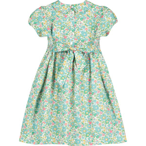 hand smocked Liberty print girls dress back
